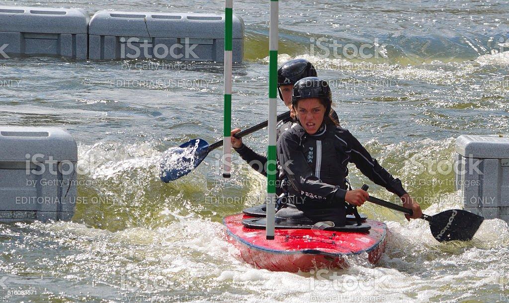 Ladies Double Canoe stock photo