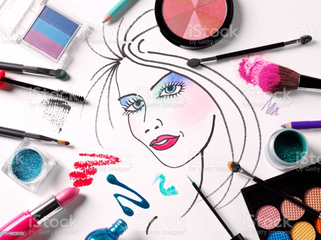 Ladies Face with Cosmetics royalty-free stock photo