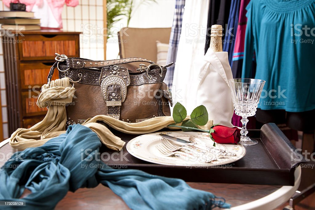 Ladies fashion in a window display royalty-free stock photo
