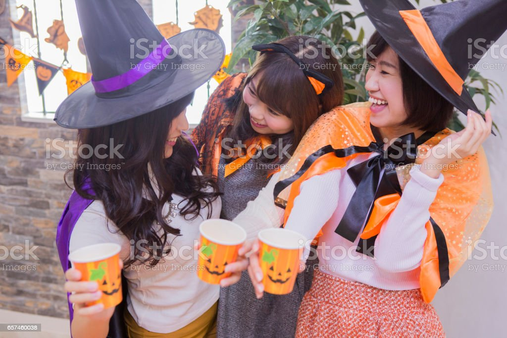 Ladies Halloween party stock photo
