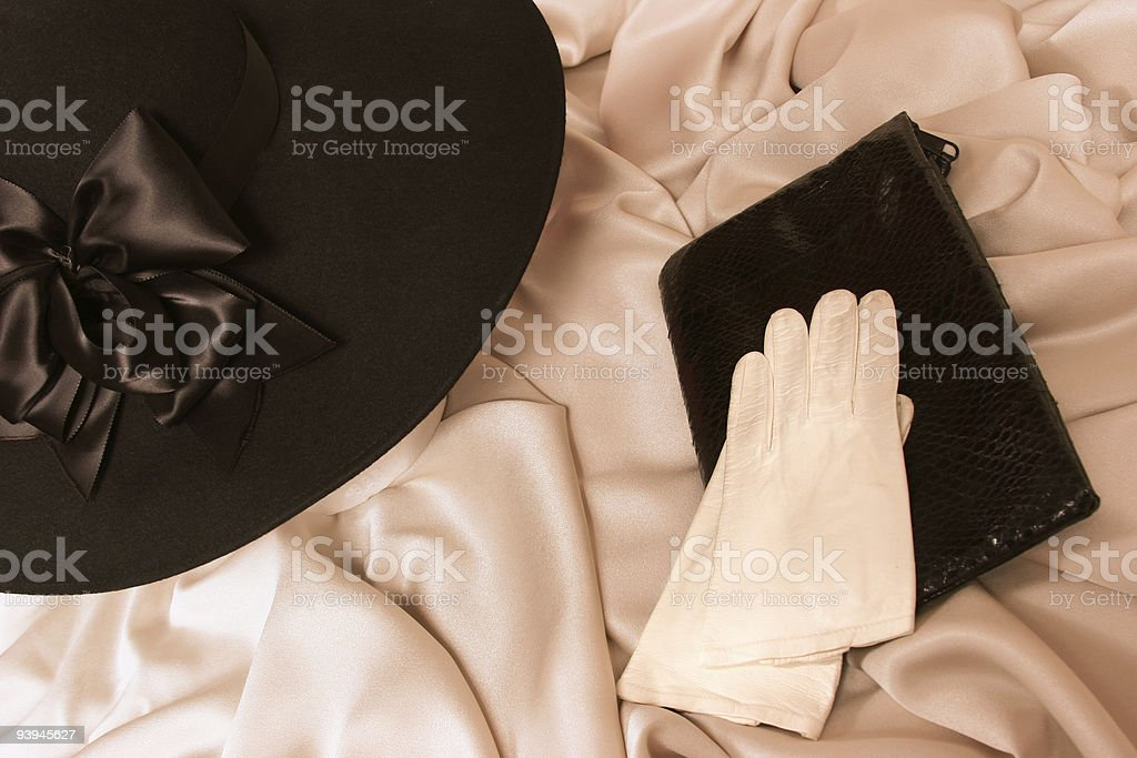 Ladies hat, purse and gloves stock photo