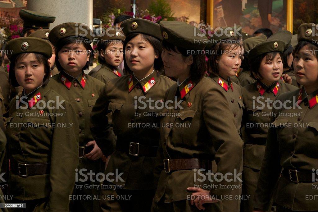 Ladies of the North Korean Army stock photo