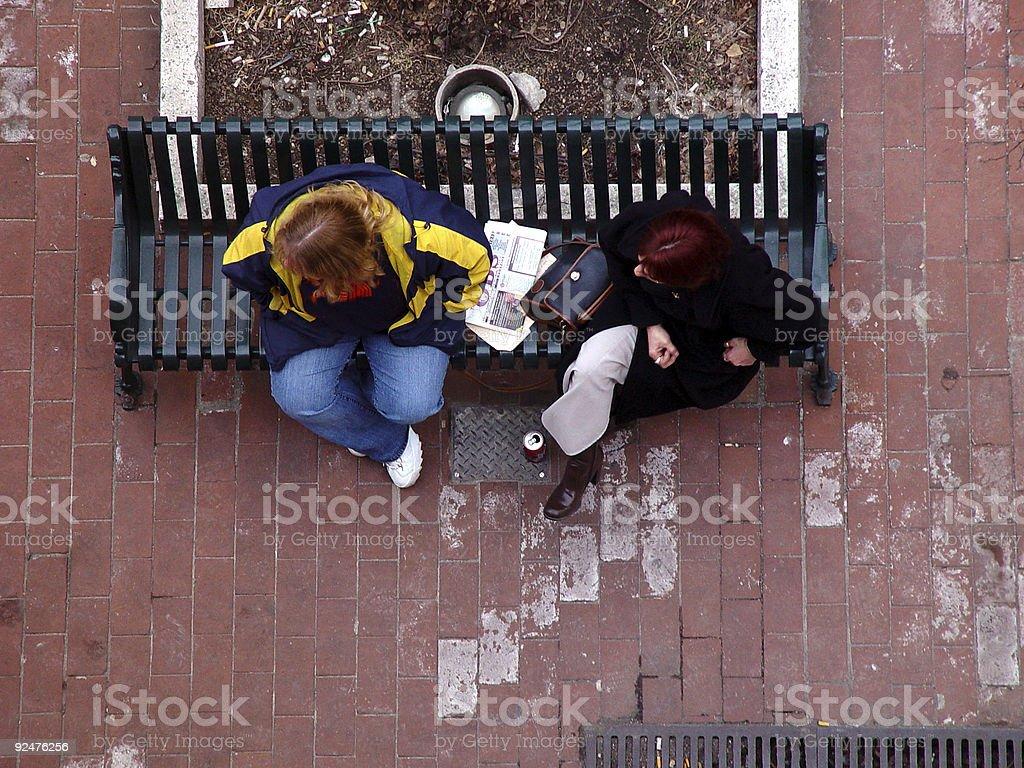 Ladies auf Park Bench Lizenzfreies stock-foto