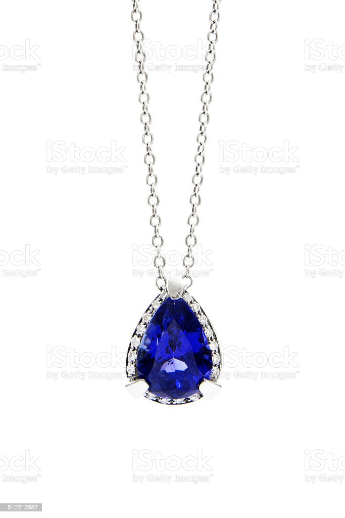 Ladies Pendant with Tanzanite and Diamonds stock photo