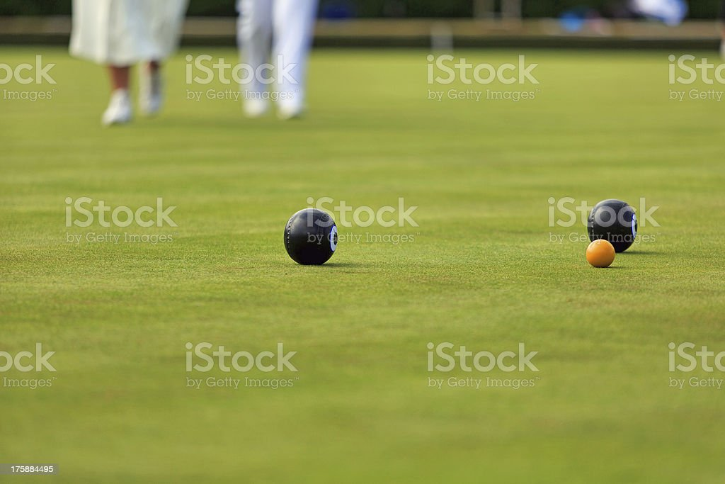 Ladies playing lawn bowls royalty-free stock photo