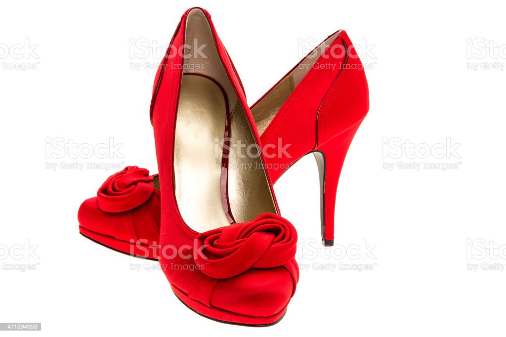 Ladies red high heel stiletto shoes royalty-free stock photo