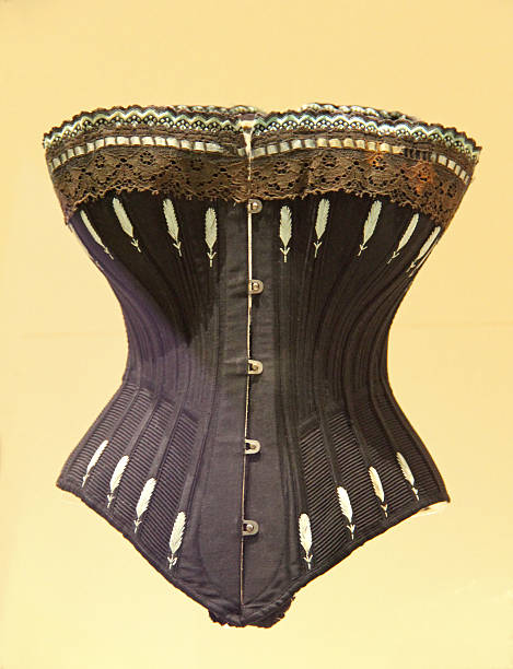 Ladies Support Corset. A Black Embroided Vintage Ladies Support Corset. corset stock pictures, royalty-free photos & images