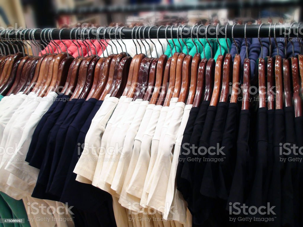 Ladies T-Shirts  Displayed Inside Department Store stock photo