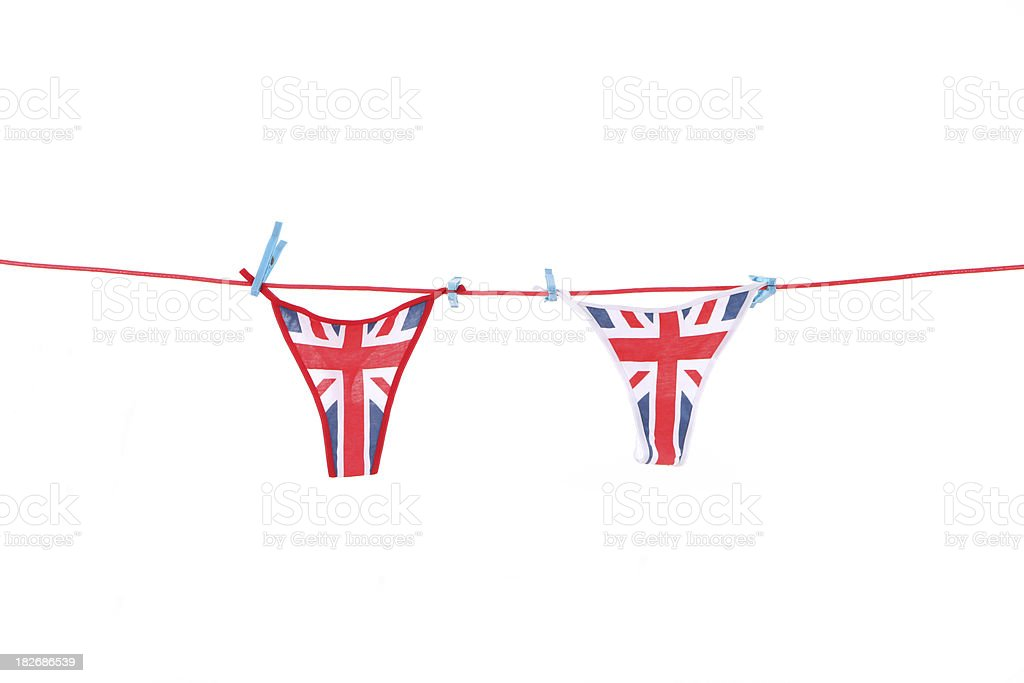 Ladies UK flag thongs hanging on a clothes line royalty-free stock photo