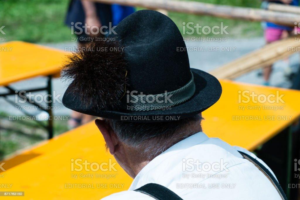 Ladino hat at Festa Ta Mont, traditional Ladino festival stock photo