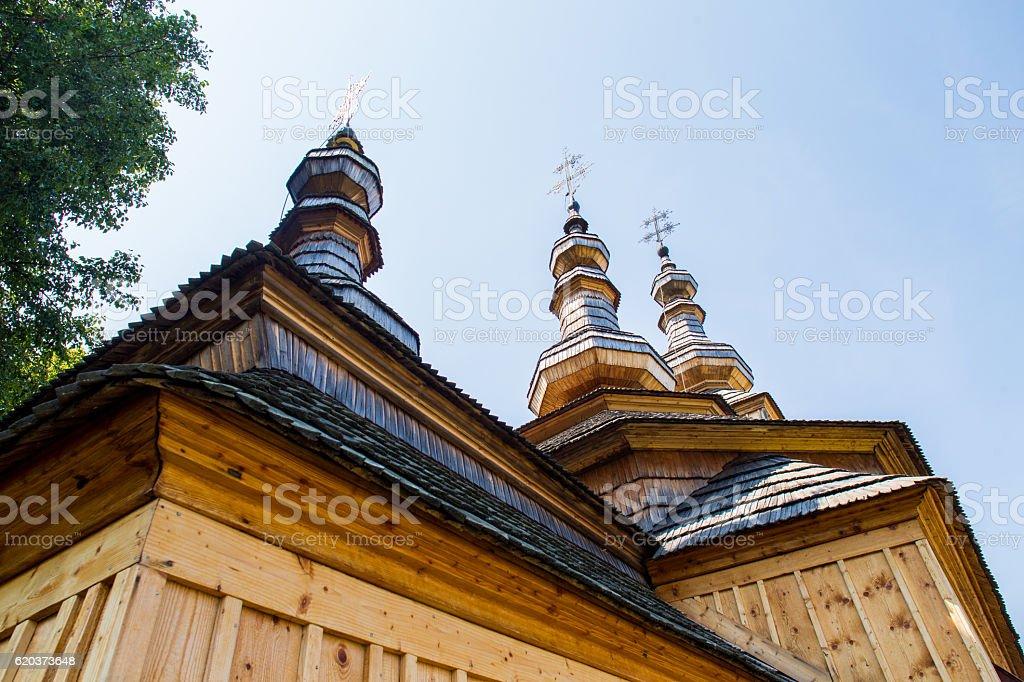 Ladomirova, Slovakia. Old St. Michael church Ladomirova in Slovakia. Wooden church built in 1742. St. Michael the Archangel Greek Catholic church. Capital Cities Stock Photo