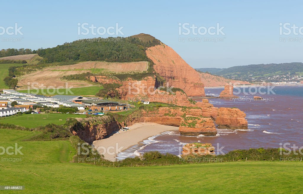 Ladram Bay beach Devon England between Budleigh and Sidmouth stock photo
