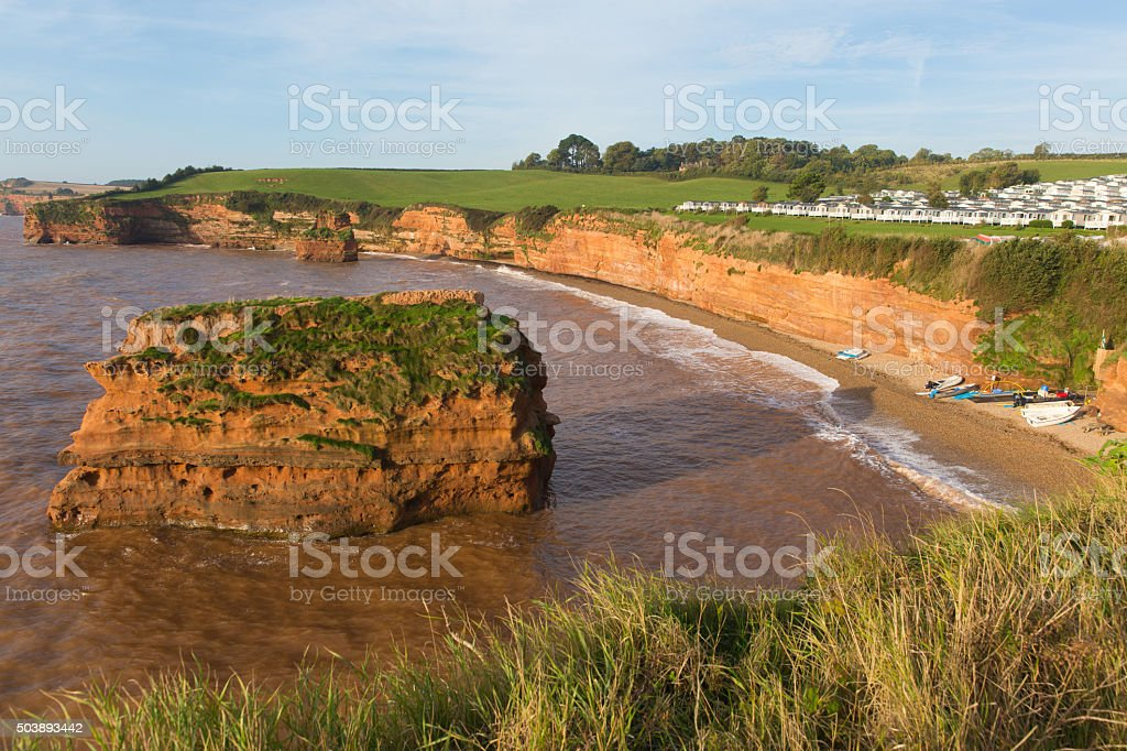 Ladram Bay beach Devon UK between Budleigh Salterton and Sidmouth stock photo