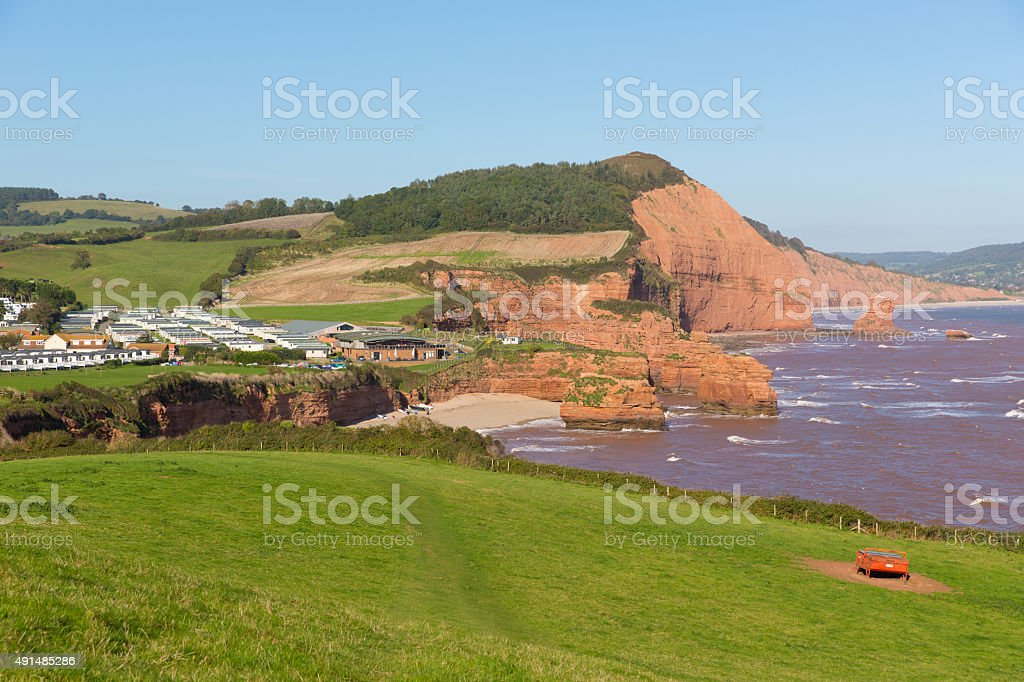 Ladram Bay coast Devon England between Budleigh and Sidmouth stock photo