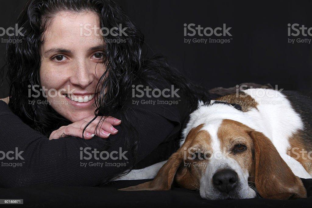 Lady & Her Dog  (Beagle) stock photo