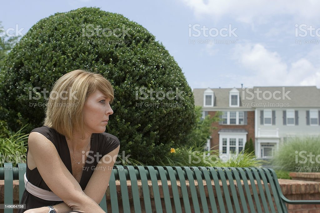 Lady and bench stock photo