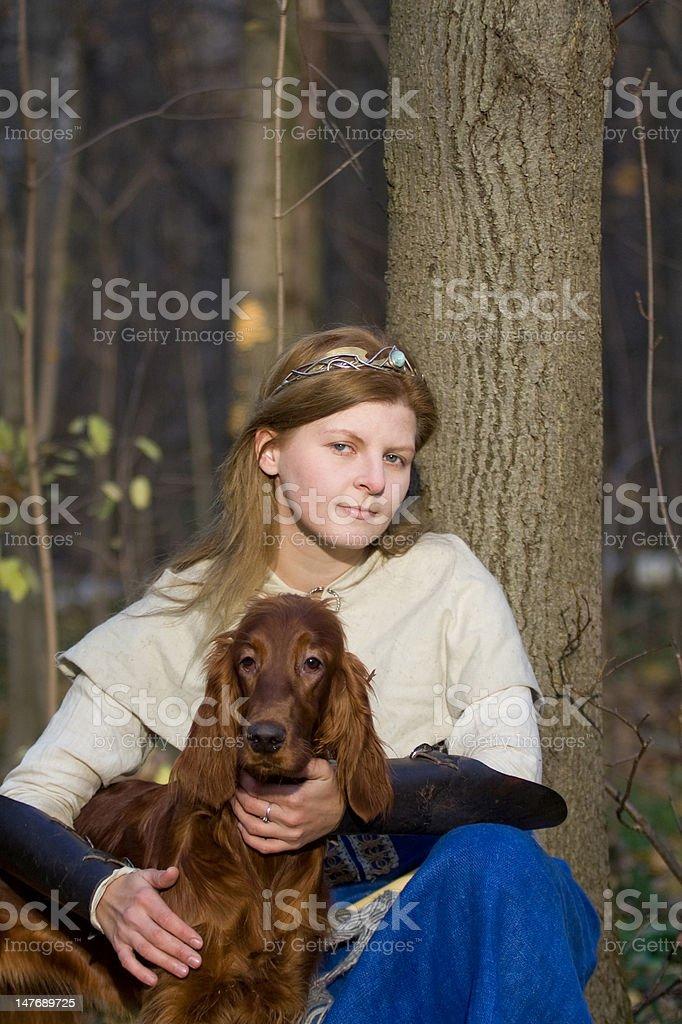 lady and dog stock photo