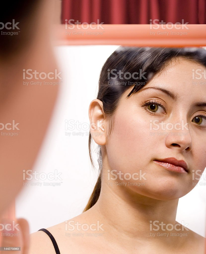 Lady and mirror royalty-free stock photo