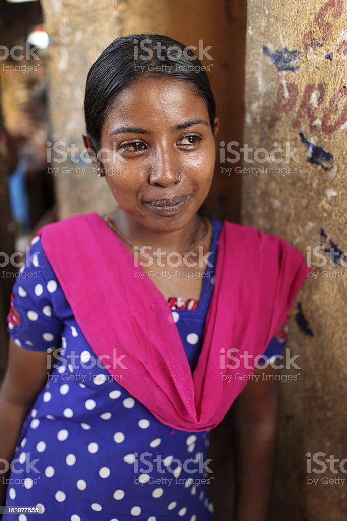 Lady at the market stock photo