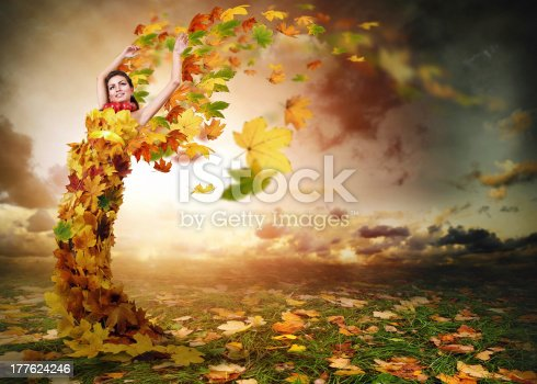 istock Lady Autumn with wings 177624246