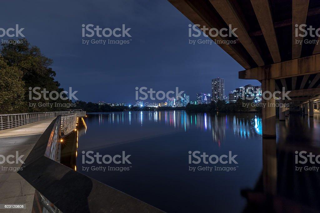 Lady Bird Lake Boardwalk Illuminated at Night, Austin, Texas stock photo