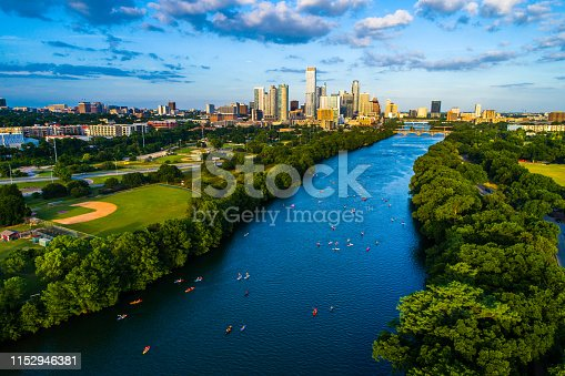 Aerial Drone view above Lady Bird Lake Kayakers above Austin , Texas , USA Summer Fun on the Lake  2019