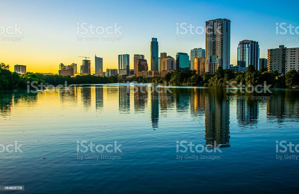 Lady Bird Lake Reflections Austin, TX USA Skyline 2015 stock photo