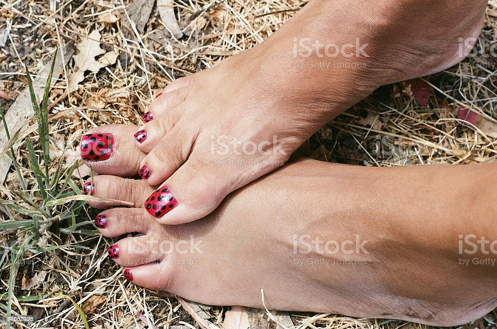Lady Bug Toes royalty-free stock photo