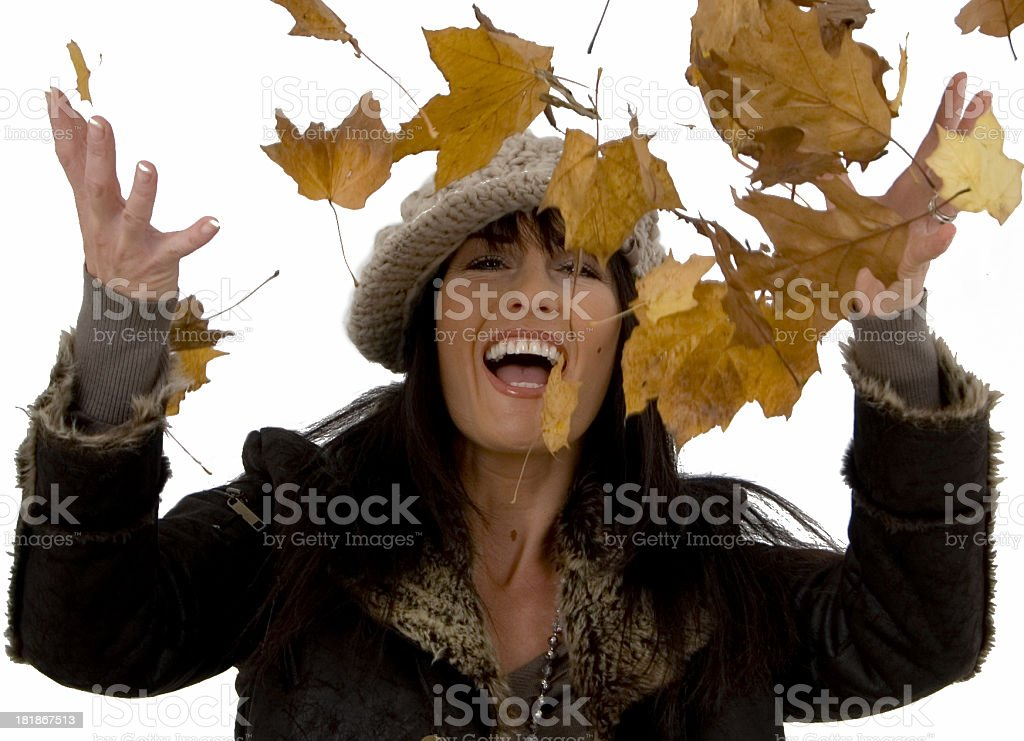 Lady catching leaves royalty-free stock photo