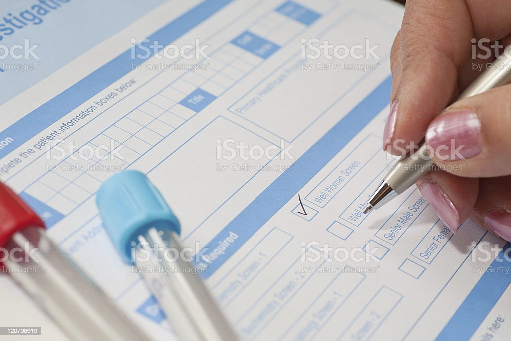 Lady Doctor Requesting Blood Test royalty-free stock photo