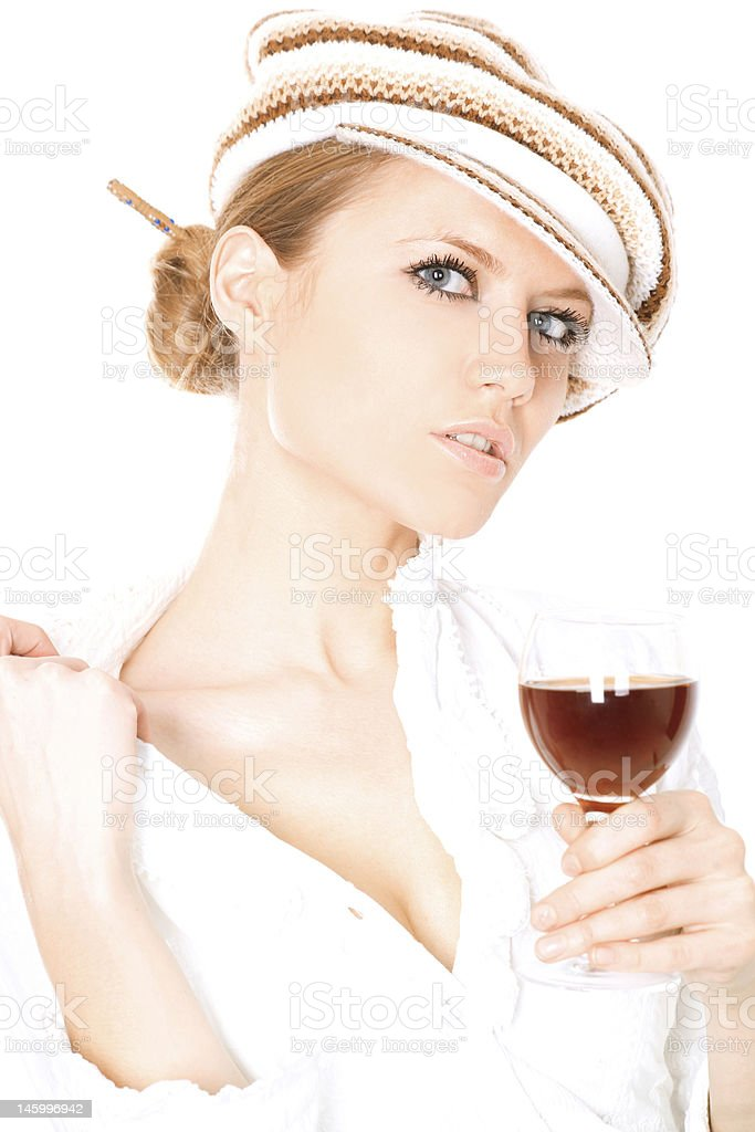Lady drinking wine royalty-free stock photo