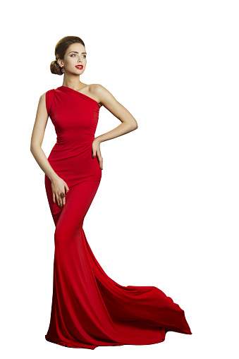 Lady Evening Dress Elegant Woman In Long Gown With Tail