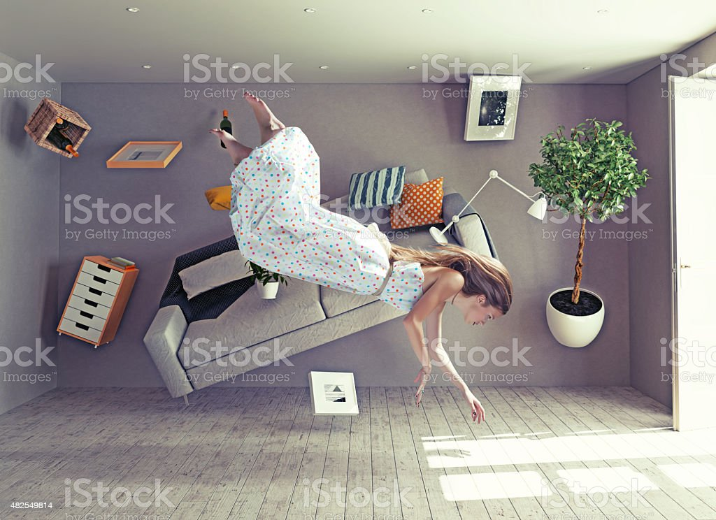 lady qui arrive au vol zero gravity chambre - Photo