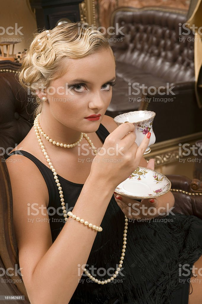 lady from cup royalty-free stock photo