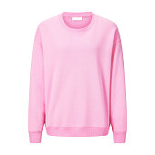 Lady Girls Long Sleeve Rib Pattern Pink Sweatshirt Isolated on White. Front View of Modern Woman's Sweater with Crew Neck and Overcut Shoulders. Jerseys Clothing Garment Apparel. Beauty & Fashion