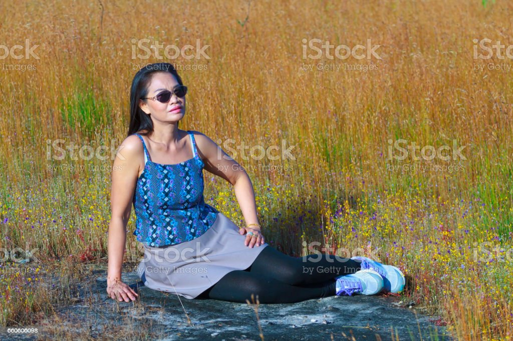 Lady happy and Utricularia delphinoides royalty-free stock photo