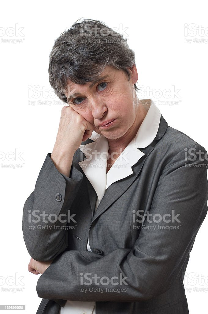 lady heaving a sigh stock photo