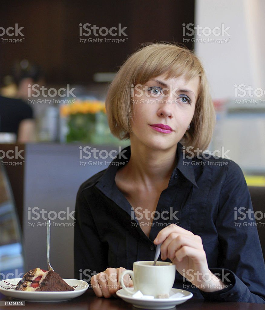 Lady in coffee room royalty-free stock photo