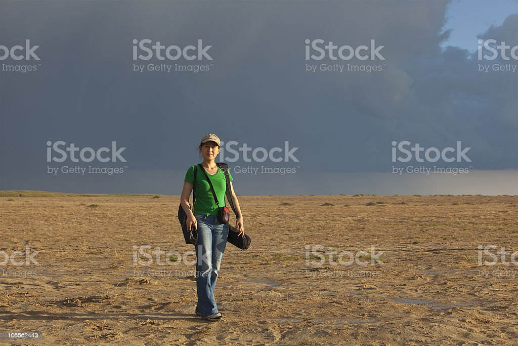 lady in desert royalty-free stock photo