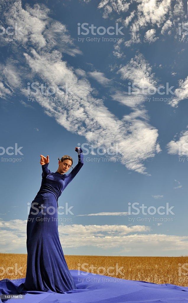 Lady in large evening dress against sky portrait royalty-free stock photo