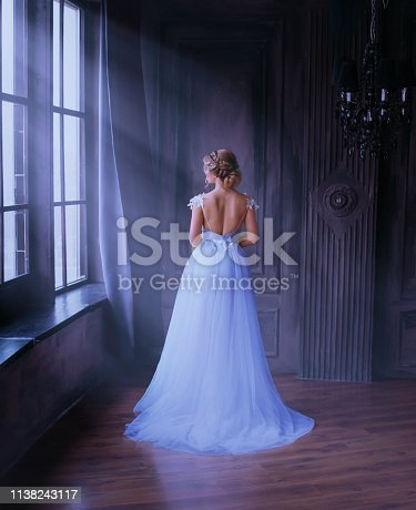 lady in long blue vintage dress with train and open back stands with back to camera. room with large windows with sunlight. no face. A woman, dreams of freedom, how to escape from a golden cage. Fine art.
