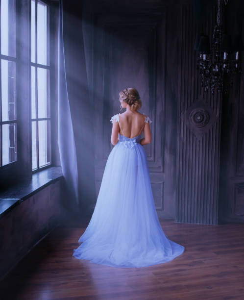 lady in long blue vintage dress with train and open back stands with back to camera. room with large windows with sunlight. no face. A woman, dreams of freedom, how to escape from a golden cage. Fine art lady in long blue vintage dress with train and open back stands with back to camera. room with large windows with sunlight. no face. A woman, dreams of freedom, how to escape from a golden cage. Fine art. sun shining through dresses stock pictures, royalty-free photos & images