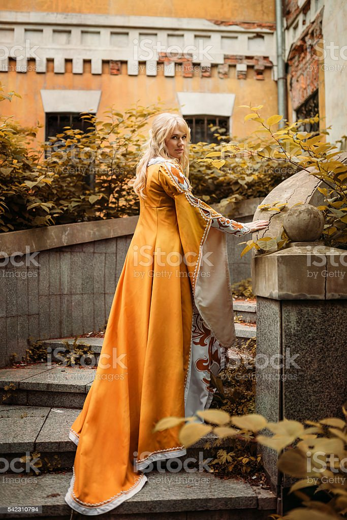 Lady in medieval costume stock photo