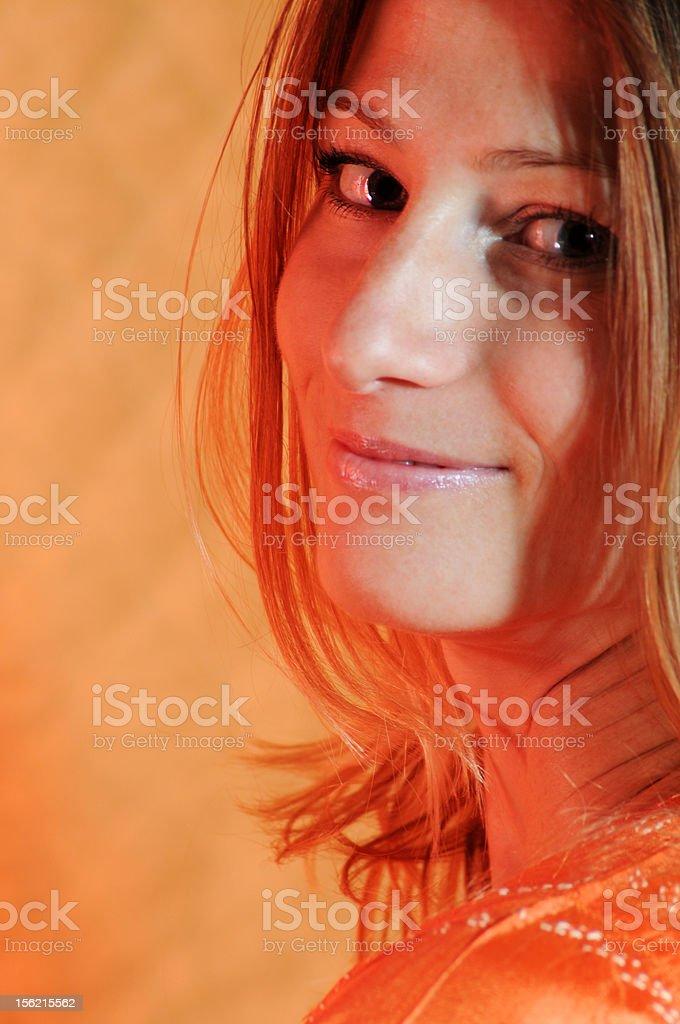 Lady in Orange royalty-free stock photo