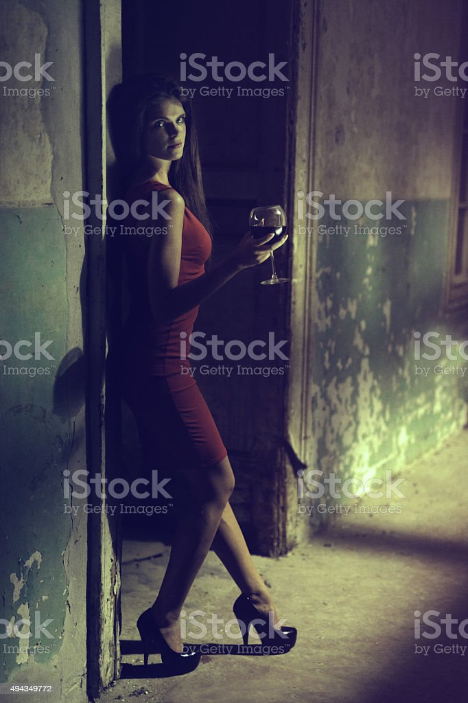 Lady in red 4 stock photo