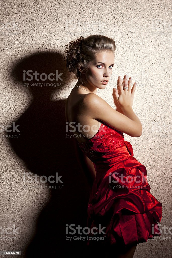 Lady in red stock photo