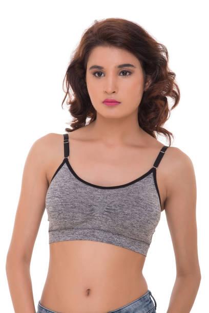 Lady in sports bra stock photo