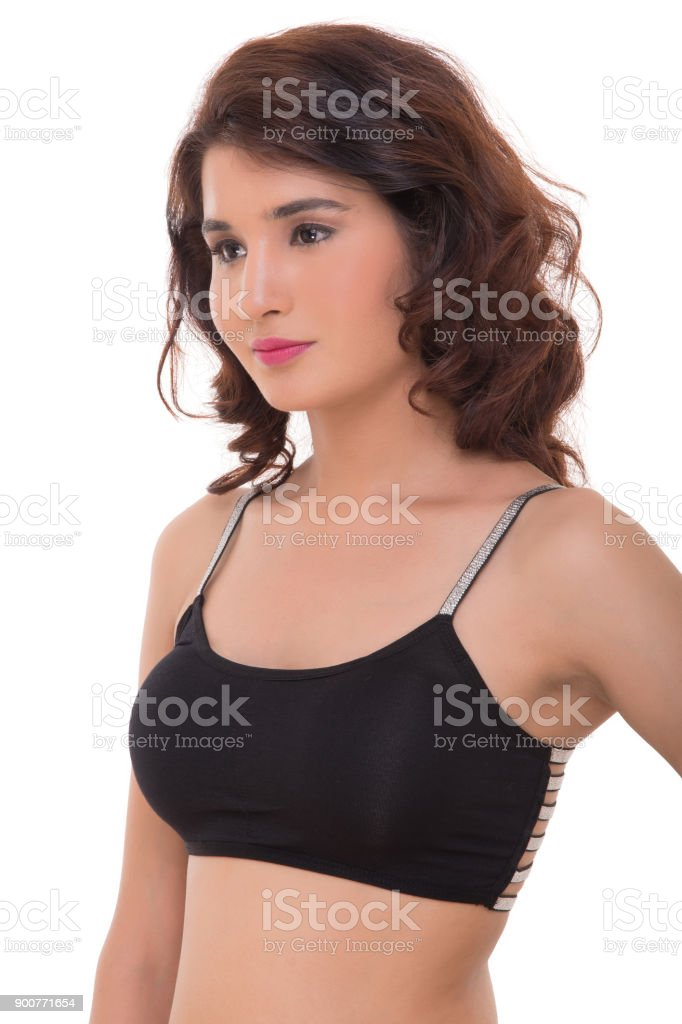 Lady in sports bra stock photo