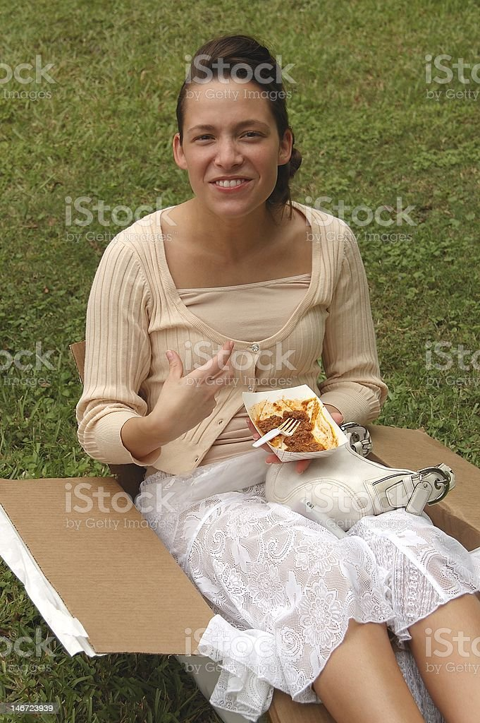 Lady in the Box stock photo