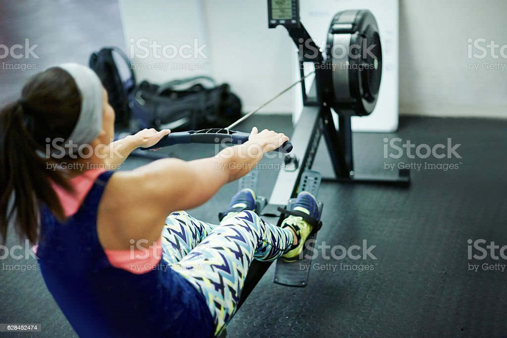 Lady in the street, freak in the gym stock photo